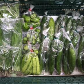 7/31(mon)本日の仕入れです。  北中城村ソルファコミュニティさんの無農薬栽培のキュウリ、自然栽培のピーマン・にら・うりずん豆・ツルムラサキ・モロヘイヤ・四季柑、が入荷しました。