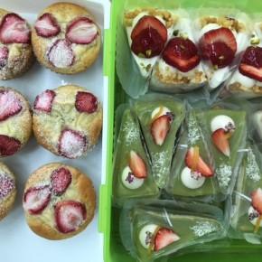 本日の自然いぬ。さんのケーキ&クッキーは「森岡いちごとソイカスタードのマフィン」「森岡いちごのムースケーキ」「モリンガと甘夏ピールのホワイトチョコケーキ」「島ゴボウのコロコロクッキー」「大山産 田芋と全粒粉のビスケット」です。