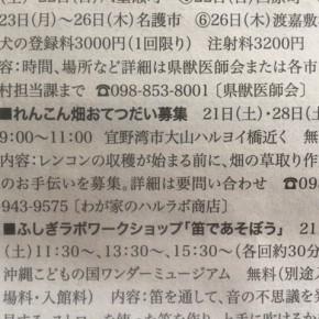 4月の毎週土曜日は沖縄れんこんの田んぼで草取りの日!  ということで先週に引き続き実施しました~。  今週は農業研究センターの方がお手伝いにきてくれました!!  1時間ぐらいの作業、裸足で入る田んぼは気持ちいいですよ。  8月の収穫に向けてよろしくお願いしまーす。  ※今週の琉球新報「レキオ」でも告知をしていただきました。