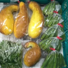 5/18(fri)本日の仕入れです。  今シーズン初!  北中城村ソルファコミュニティさんの自然栽培のモーウイ・オクラが入荷しました!!