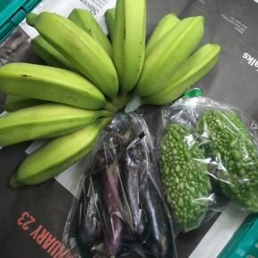 6/29(fri)本日の仕入れです。  うるま市 玉城勉さんの自然栽培のゴーヤー・なす・ブラジル島バナナが入荷しました!
