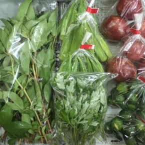 6/29(fri)本日の仕入れです。  北中城村ソルファコミュニティさんの自然栽培のシークワーサー・パッションフルーツ・角オクラ・ヨモギ・モロヘイヤが入荷しました!