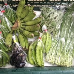 9/3(mon)本日の仕入れです。  うるま市 玉城勉さんの自然栽培のナス・黄輝バナナ・丸オクラ、北中城村ソルファコミュニティさんの自然栽培のヨモギ・うりずん豆・ニラが入荷しました!