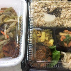 本日の福豆さん ヴィーガン弁当、日替は春菊とお豆腐の和風ハンバーグがメイン。どんぶりは玄米おこげとビーツ団子のあんかけです!