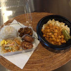 6/24(mon)のデリ!今日からお弁当もありますよ〜。玄米おにぎりのお弁当、玄米とひよこ豆のカレー、レンズ豆とドライトマト煮込み、春雨サラダ、秋川牧園鶏もも肉の唐揚げをご用意しています。