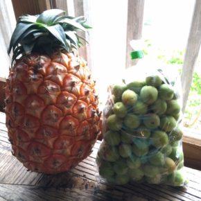 やんばるから森さんの無農薬ピーチパインと、今年は不作と言われていたオーシッタイの梅が入荷しました!